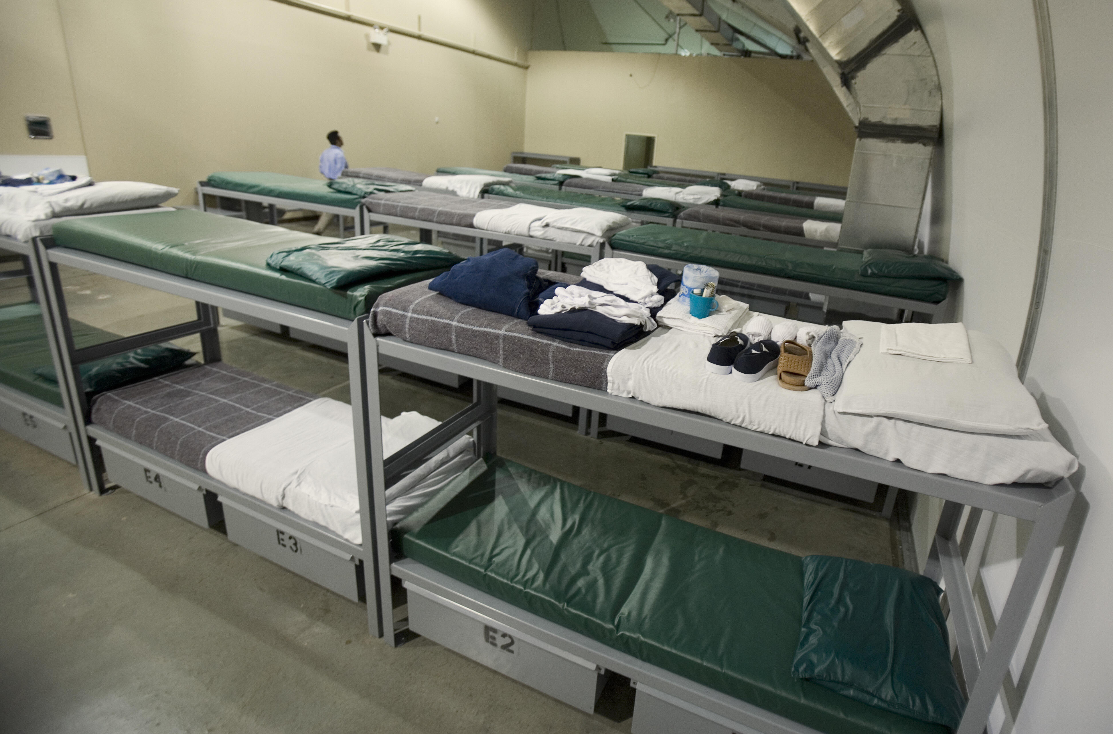 The detainee's bunk beds are seen inside Homeland Security's Willacy Detention Center, a facility with 10 giant tents that can house up to 2000 detained illegal immigrants, 10 May 2007 in Raymondville, Texas. AFP Photo/Paul J. Richards/Getty Images