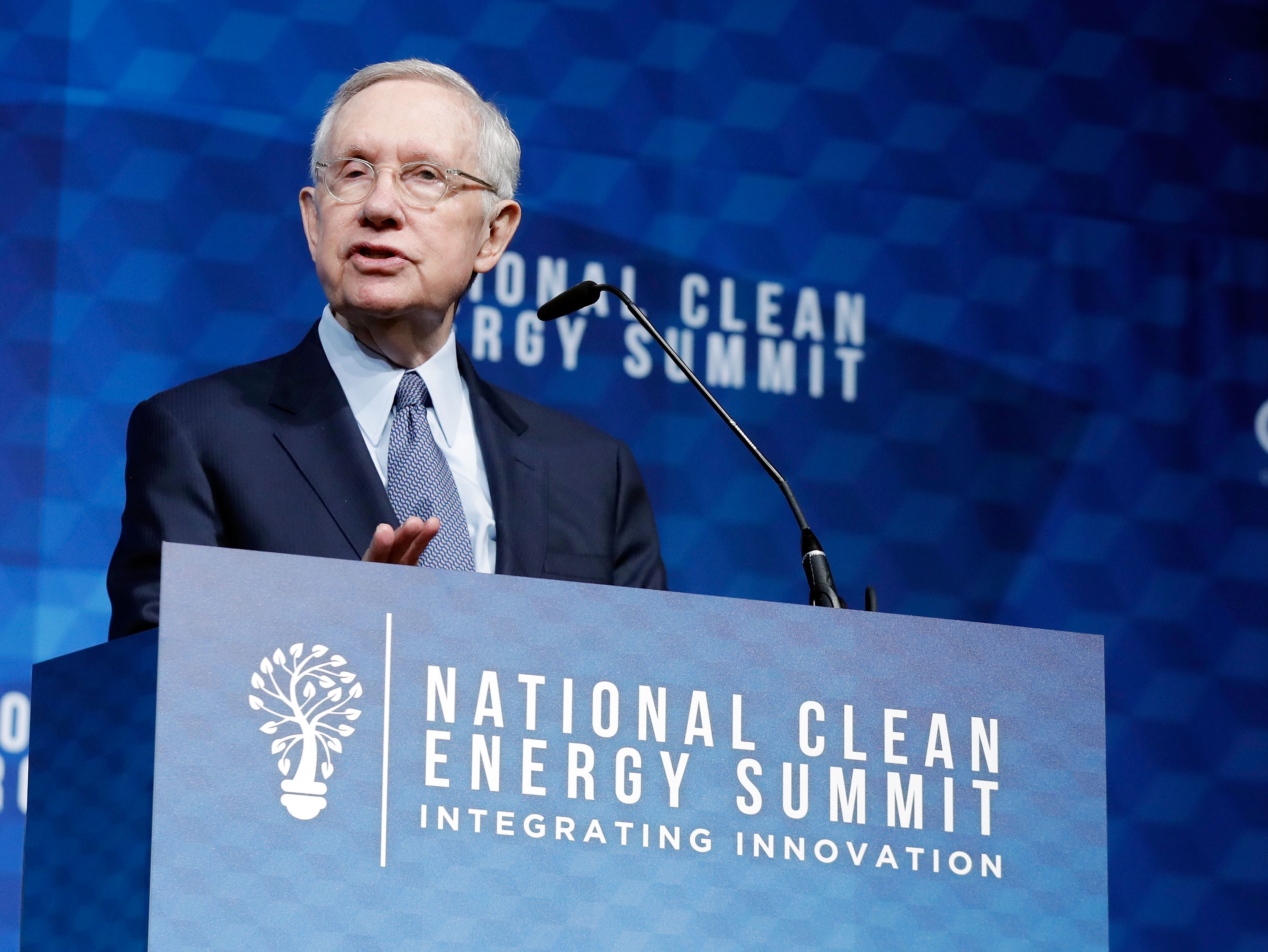 Former U.S. Senator Harry Reid speaks during the National Clean Energy Summit 9.0 on October 13, 2017 in Las Vegas, Nevada. (Photo by Isaac Brekken/Getty Images for National Clean Energy Summit)