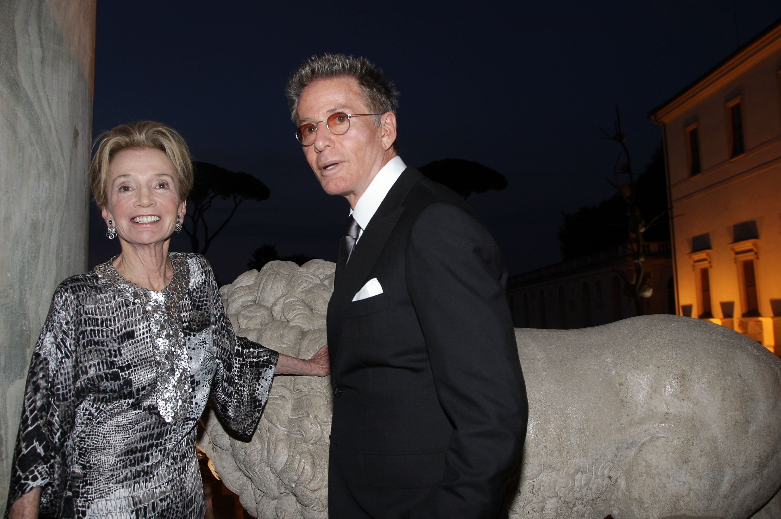 Lee Radziwill, the sister of Jacqueline Kennedy Onassis, and stylist Calvin Klein attend Marina Cicogna Opening Exhibition dinner at Villa Medici on June 3, 2009 in Rome, Italy. (Photo by Franco Origlia/Getty Images)