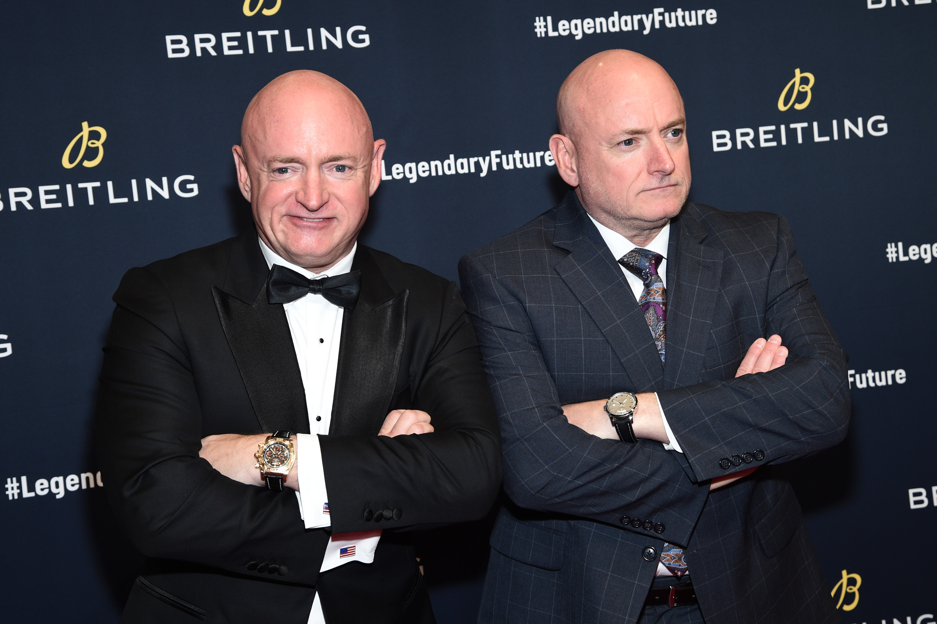 "Astronauts Mark Kelly with Scott Kelly on the red carpet at the ""#LEGENDARYFUTURE"" Roadshow 2018 New York on February 22, 2018. (Photo by Dimitrios Kambouris/Getty Images for Breitling)"