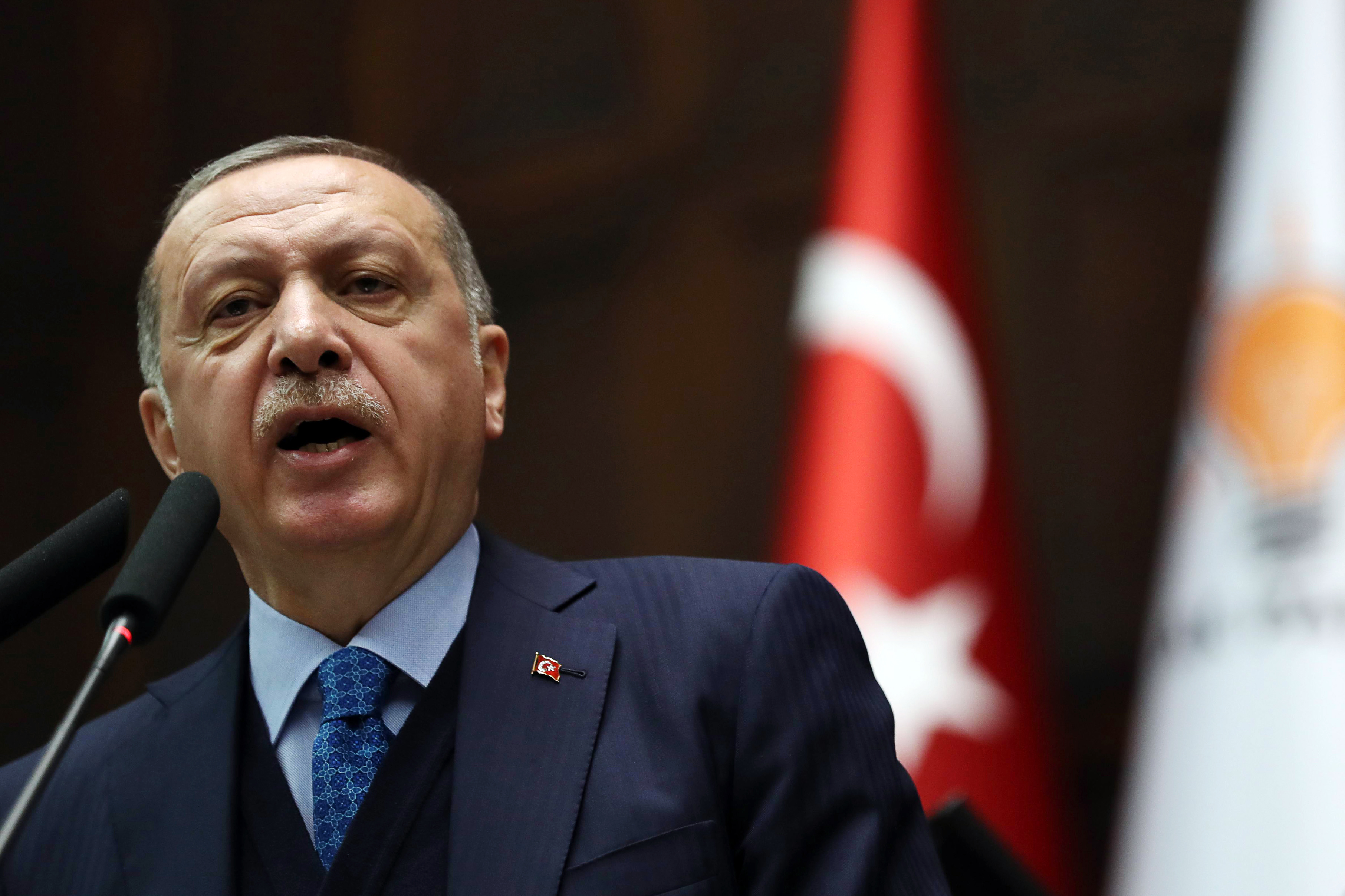 Turkish President and leader of the Justice and Development Party (Photo credit should read ADEM ALTAN/AFP/Getty Images)