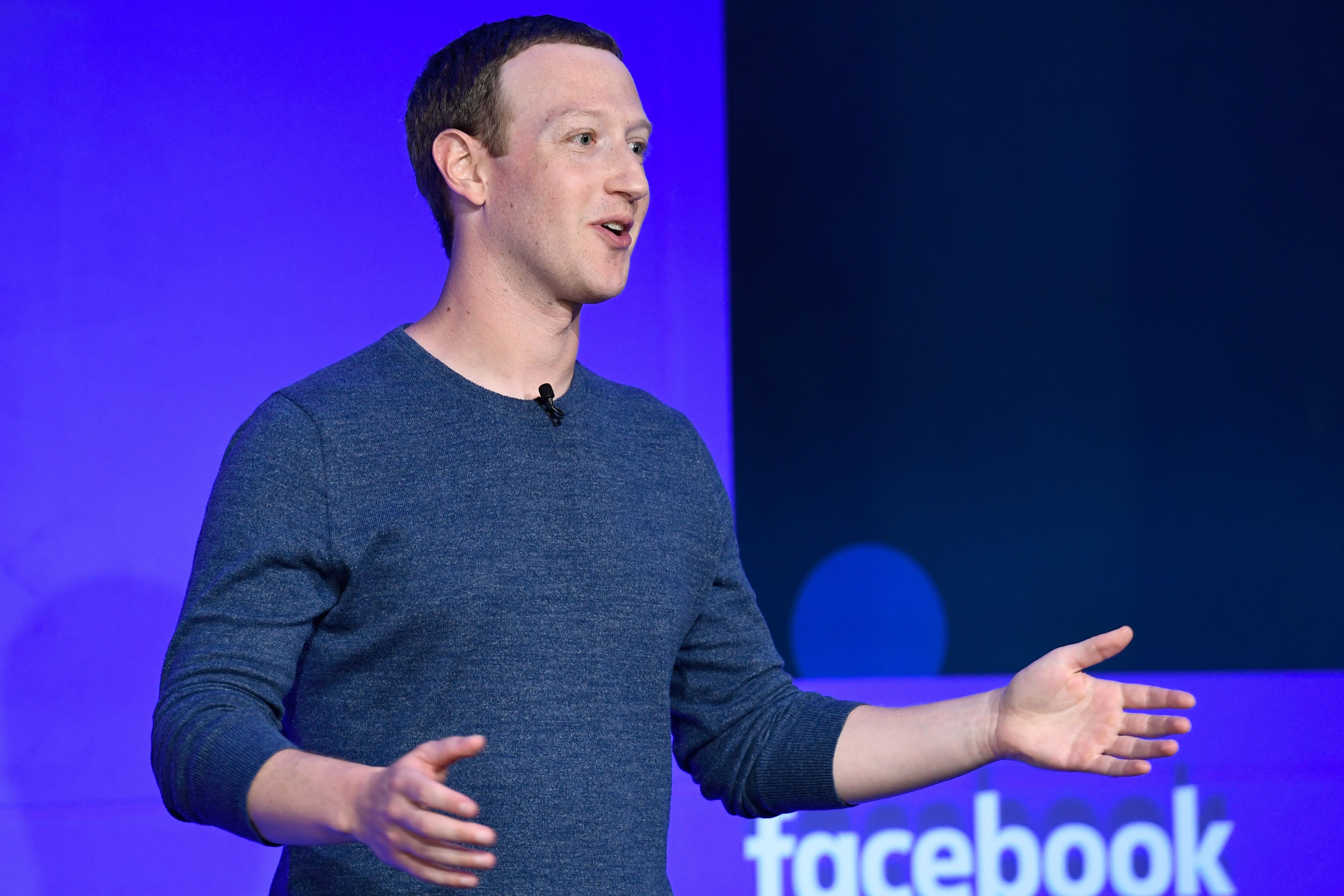 Facebook CEO Mark Zuckerberg speaks during a press conference in Paris on May 23, 2018. (BERTRAND GUAY/AFP/Getty Images)