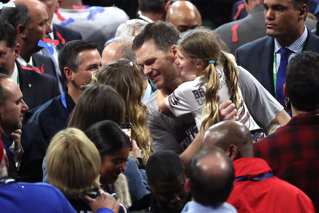 Tom Brady #12 of the New England Patriots celebrates with Gisele Bundchen and Vivian Lake Brady after his 13-3 win against Los Angeles Rams during Super Bowl LIII at Mercedes-Benz Stadium on February 03, 2019 in Atlanta, Georgia. (Photo by Streeter Lecka/Getty Images)