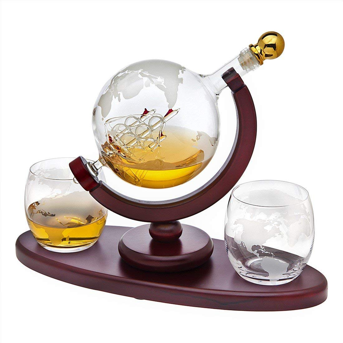 Normally $90, save $40 on this hand-crafted Godinger globe-themed whiskey decanter set (Photo via Amazon)