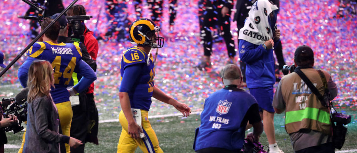 ATLANTA, GEORGIA - FEBRUARY 03: Jared Goff #16 of the Los Angeles Rams walks off the field after his teams 13-3 teams loss to the New England Patriots during Super Bowl LIII at Mercedes-Benz Stadium on February 03, 2019 in Atlanta, Georgia. (Photo by Streeter Lecka/Getty Images)