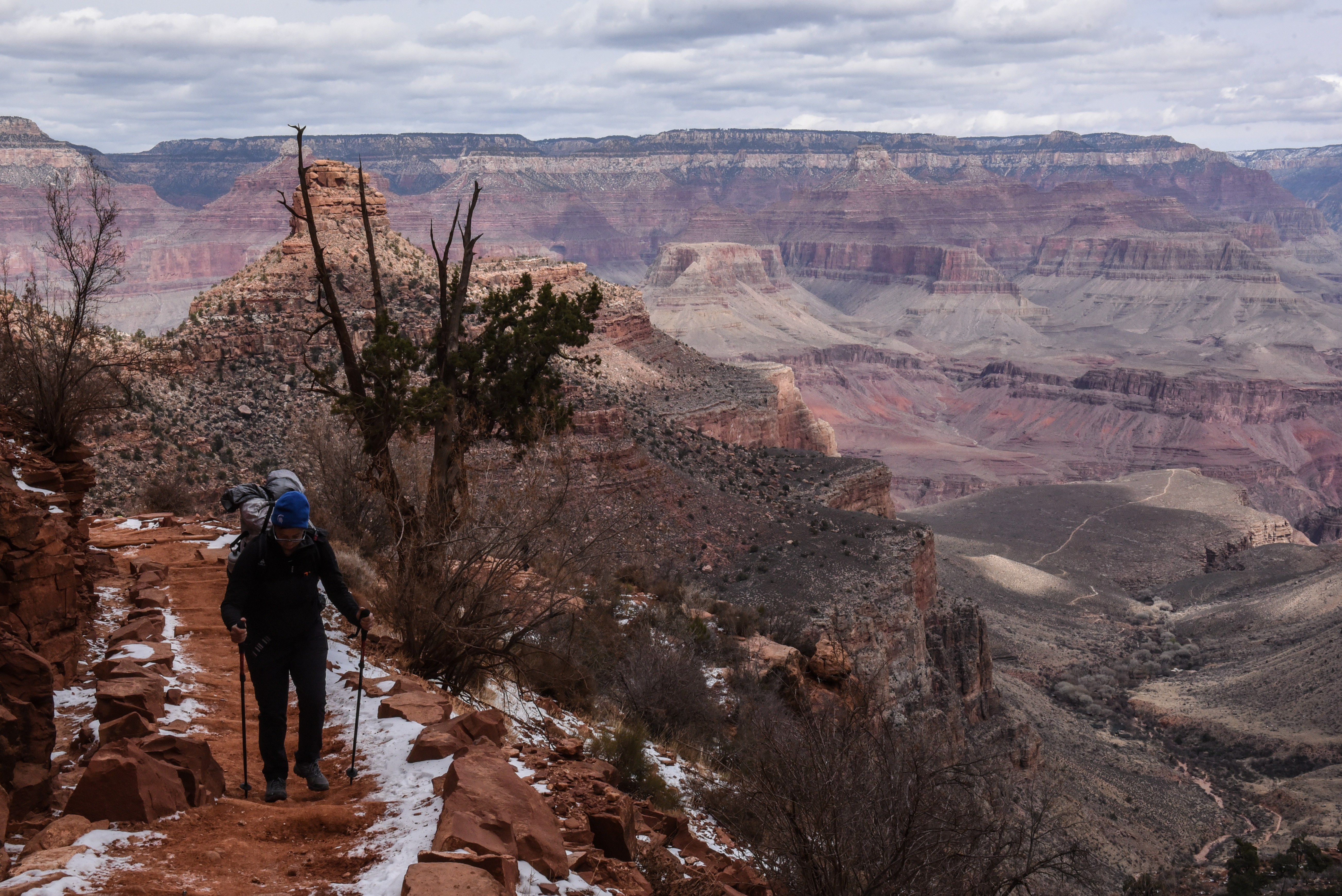 A person hikes on the Bright Angel Trail in the Grand Canyon near Grand Canyon Village, Arizona, U.S., February 22, 2018. REUTERS/Stephanie Keith