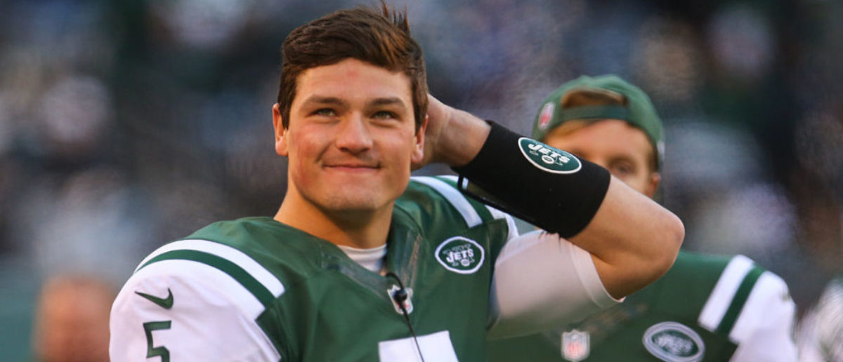 EAST RUTHERFORD, NJ - JANUARY 01: Christian Hackenberg #5 of the New York Jets watches from the sidelines during the second half of their game against the Buffalo Bills at MetLife Stadium on January 1, 2017 in East Rutherford, New Jersey. (Photo by Ed Mulholland/Getty Images)