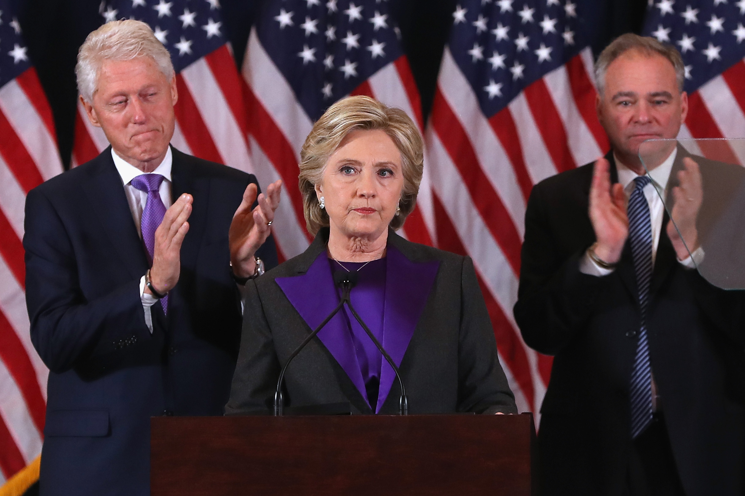 Hillary Clinton, accompanied by her husband former President Bill Clinton and running mate Tim Kaine, concedes the presidential election at the New Yorker Hotel on November 9, 2016 in New York City. (Justin Sullivan/Getty Images)