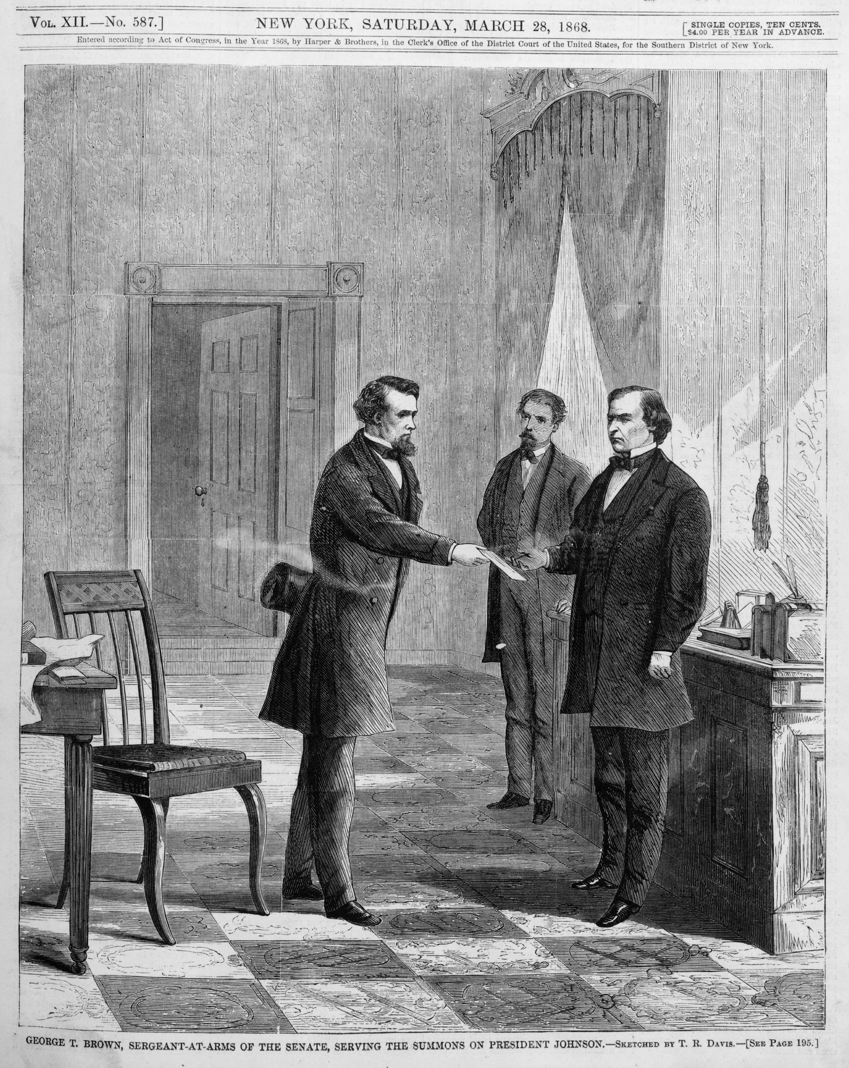 Pictured is an illustration of Johnson being served impeachment summons in the White House. SHUTTERSTOCK/ Everett Historical
