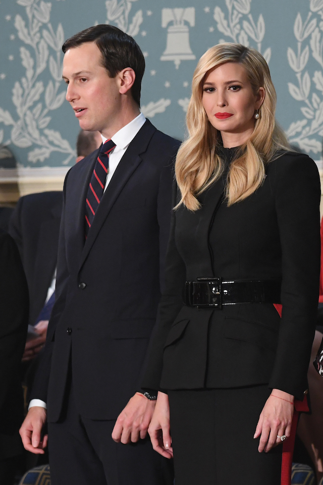 Senior Advisor to the President Ivanka Trump (R) and husband Senior Advisor to the President Jared Kushner arrive to attend the State of the Union address at the US Capitol in Washington, DC, on February 5, 2019. (Photo credit: SAUL LOEB/AFP/Getty Images)