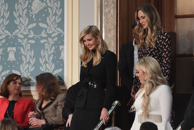 (From L) Senior Advisor to the President Ivanka Trump, Lara Trump and Tiffany Trump arrive to attend the State of the Union address at the US Capitol in Washington, DC, on February 5, 2019. (Photo credit: SAUL LOEB/AFP/Getty Images)