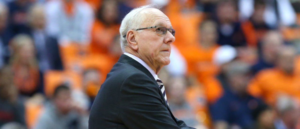 SYRACUSE, NY - DECEMBER 04: Head coach Jim Boeheim of the Syracuse Orange reacts to a play against the Northeastern Huskies during the second half at the Carrier Dome on December 4, 2018 in Syracuse, New York. Syracuse defeated Northeastern 72-49. (Photo by Rich Barnes/Getty Images)