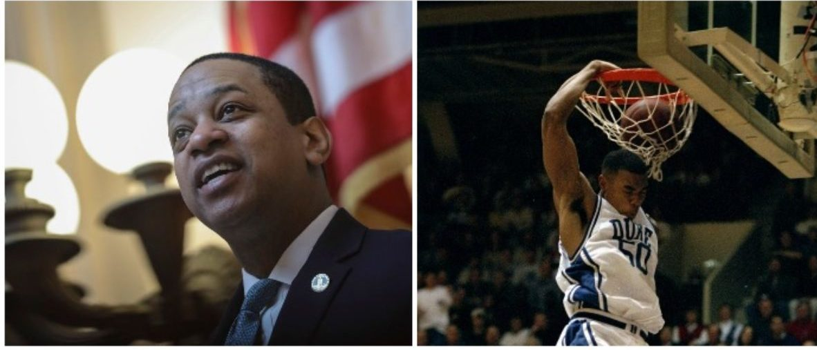 Justin Fairfax and Corey Maggettee (LEFT: Drew Angerer/Getty Images RIGHT: Craig Jones /Allsport)