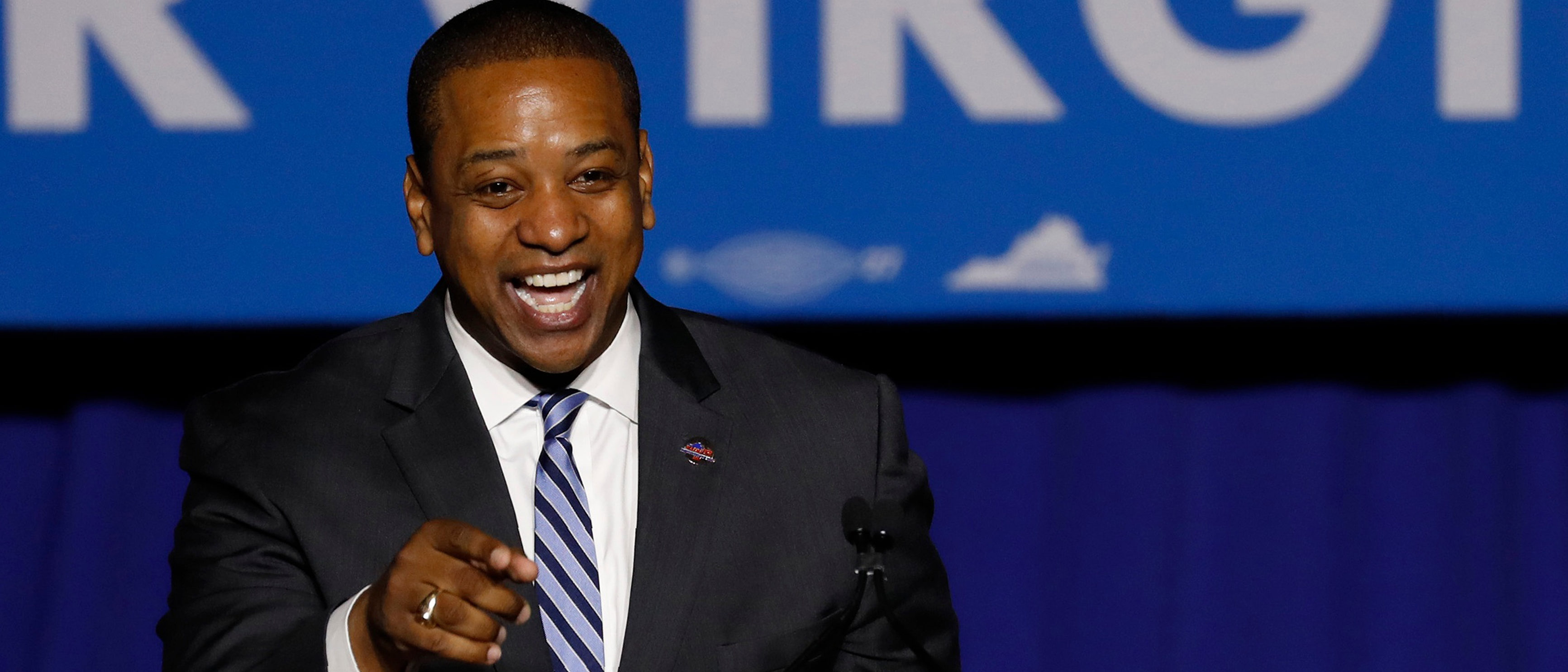 Lieutenant Governor Elect Justin Fairfax speaks at Ralph Northam's election night victory rally on the campus of George Mason University in Fairfax, Virginia, November 7, 2017. REUTERS/Aaron P. Bernstein
