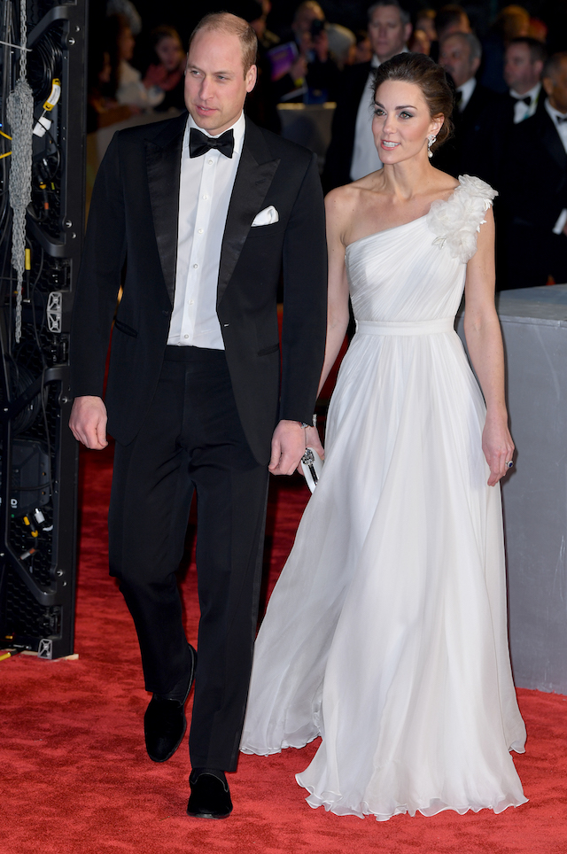 Prince William, Duke of Cambridge (L) and Catherine, Duchess of Cambridge attend the EE British Academy Film Awards at Royal Albert Hall on February 10, 2019 in London, England. (Photo by Pascal Le Segretain/Getty Images)
