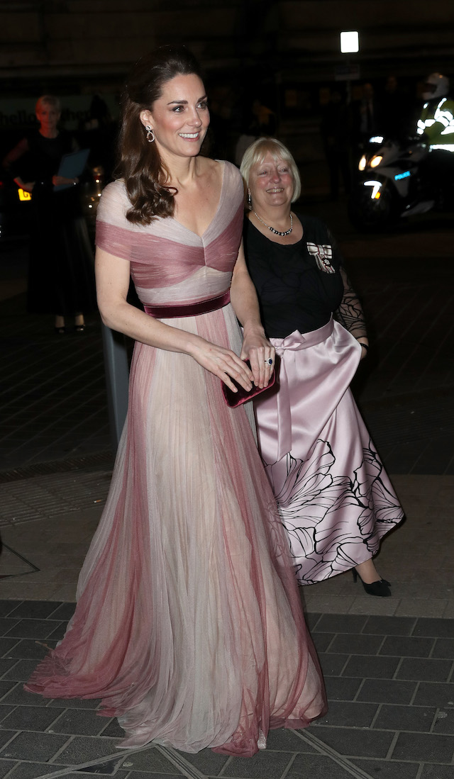 Catherine, Duchess of Cambridge, patron of 100 Women in Finance's Philanthropic Initiatives, and Colonel Jane Davis, Her Majesty's Vice Lord Lieutenant of Greater London, attend a Gala Dinner in aid on February 13, 2019 in London, England. (Photo by Chris Jackson - WPA Pool/Getty Images)