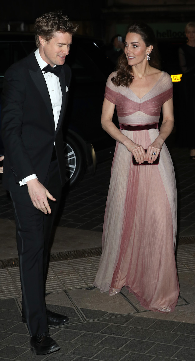Dr Tristram Hunt, Director of the V&A Museum, and Catherine, Duchess of Cambridge, patron of 100 Women in Finance's Philanthropic Initiatives, attend a Gala Dinner in aid of 'Mentally Healthy Schools' at the Victoria and Albert Museum on February 13, 2019 in London, England. (Photo by Chris Jackson - WPA Pool/Getty Images)