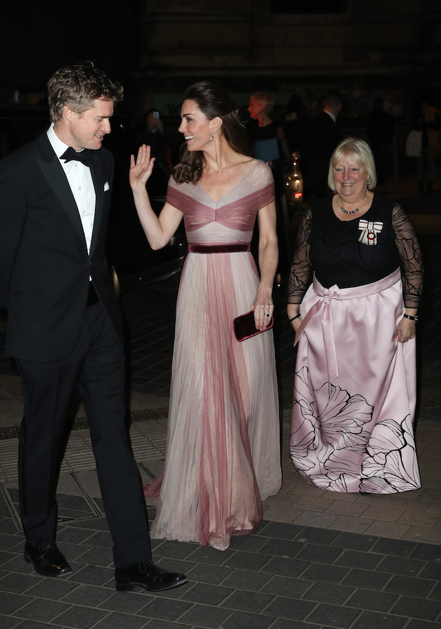 Dr Tristram Hunt, Director of the V&A Museum, Catherine, Duchess of Cambridge, patron of 100 Women in Finance's Philanthropic Initiatives, and Colonel Jane Davis, Her Majesty's Vice Lord Lieutenant of Greater London, attend a Gala Dinner in aid of 'Mentally Healthy Schools' at the Victoria and Albert Museum on February 13, 2019 in London, England. (Photo by Chris Jackson - WPA Pool/Getty Images)