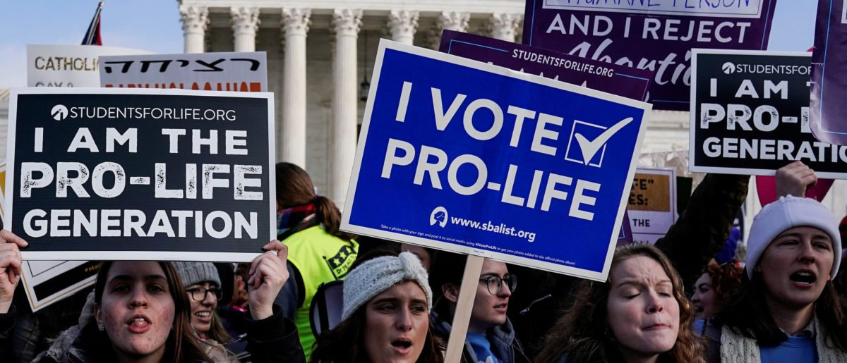 Pro-life marchers rally at the Supreme Court during the 46th annual March for Life in Washington, U.S., Jan. 18, 2019. REUTERS/Joshua Roberts