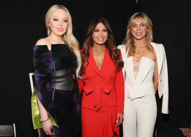 Tiffany Trump, Kimberly Guilfoyle and Marla Maples pose backstage for Taoray Wang fashion show during New York Fashion Week: The Shows at Gallery II at Spring Studios on February 9, 2019 in New York City. (Photo by Astrid Stawiarz/Getty Images for Taoray Wang)