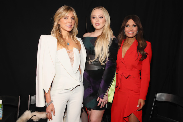 ) Marla Maples, Tiffany Trump and Kimberly Guilfoyle pose backstage for Taoray Wang fashion show during New York Fashion Week: The Shows at Gallery II at Spring Studios on February 9, 2019 in New York City. (Photo by Astrid Stawiarz/Getty Images for Taoray Wang)