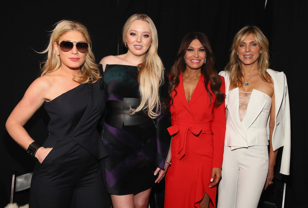 Hofit Golan, Tiffany Trump, Kimberly Guilfoyle and Marla Maples pose backstage for Taoray Wang fashion show during New York Fashion Week: The Shows at Gallery II at Spring Studios on February 9, 2019 in New York City. (Photo by Astrid Stawiarz/Getty Images for Taoray Wang)