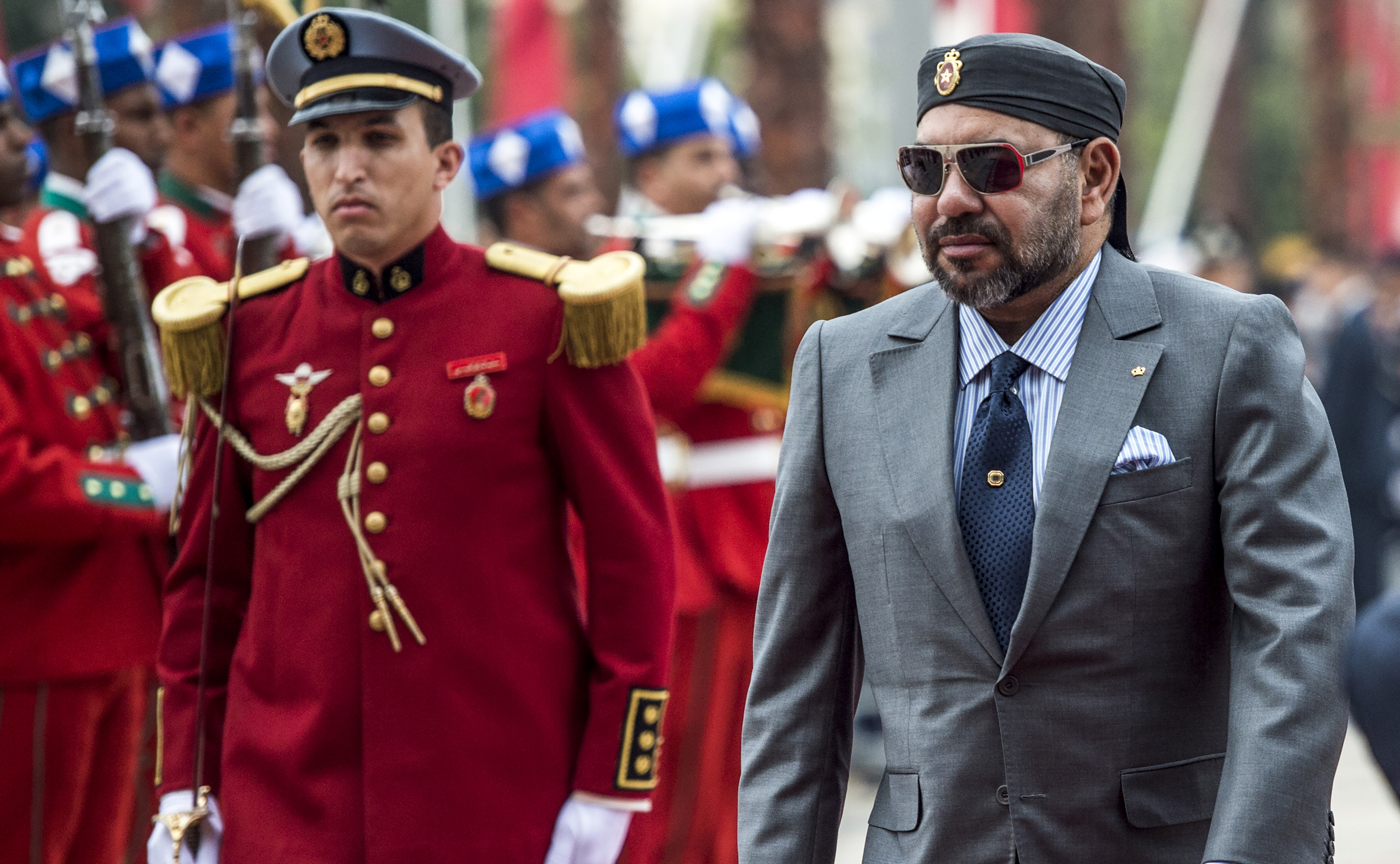 Morocco's King Mohamed VI (R) arrives for the inauguration of the capital Rabat's Agdal train station for the new LGV (High-speed rail) line on November 17, 2018. (FADEL SENNA/AFP/Getty Images)