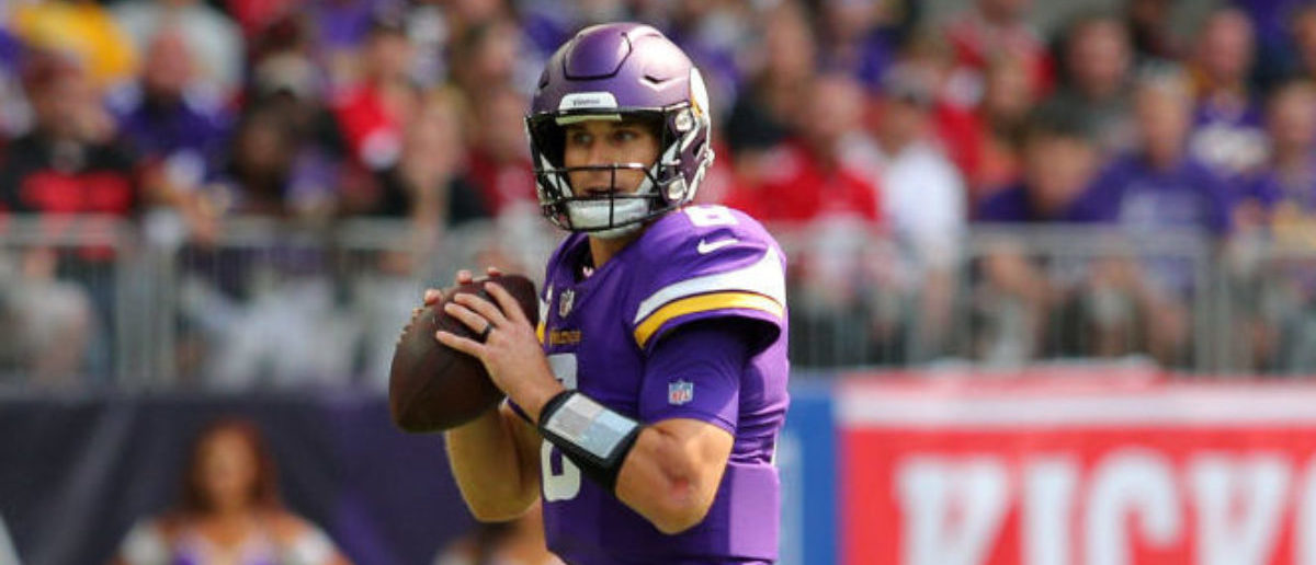MINNEAPOLIS, MN - SEPTEMBER 09: Kirk Cousins #8 of the Minnesota Vikings drops back to pass the ball in the first half of the game against the San Francisco 49ers at U.S. Bank Stadium on September 9, 2018 in Minneapolis, Minnesota. (Photo by Adam Bettcher/Getty Images)