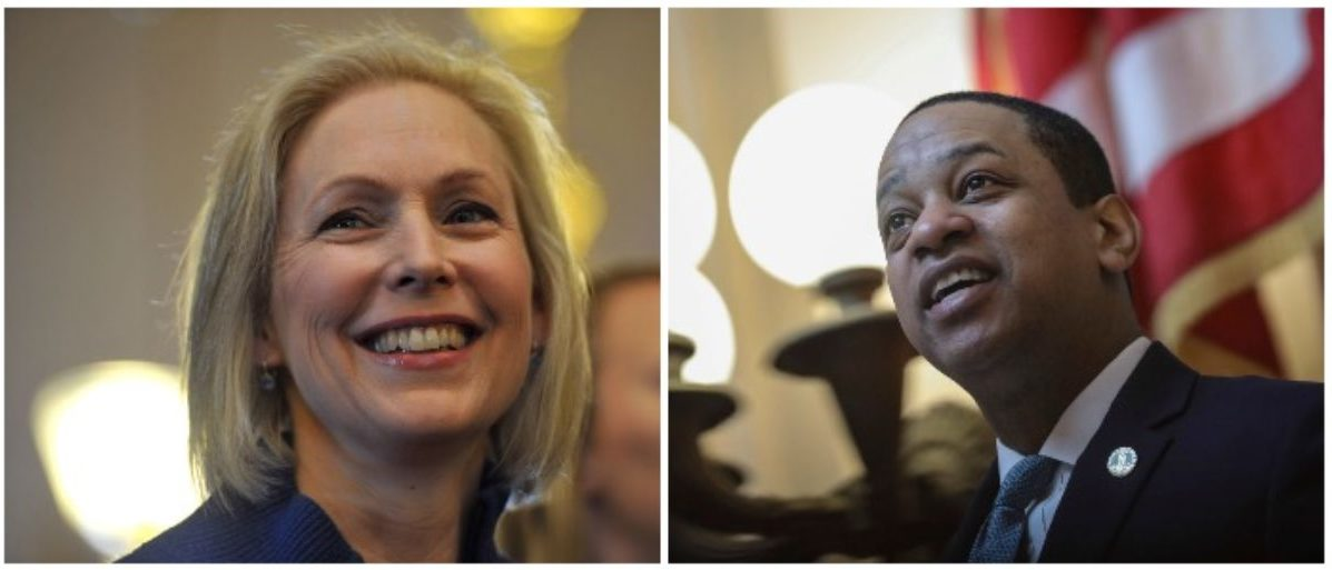 Kirsten Gillibrand and Justin Fairfax (LEFT: Steve Pope/Getty Images RIGHT: Drew Angerer/Getty Images)