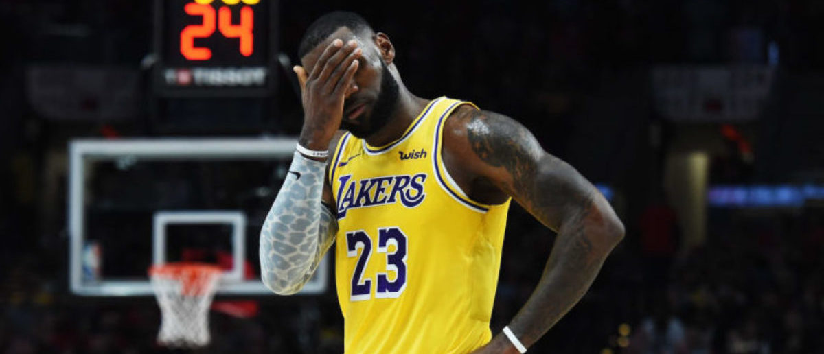PORTLAND, OR - OCTOBER 18: LeBron James #23 of the Los Angeles Lakers reacts in the first quarter against the Portland Trail Blazers during their game at Moda Center on October 18, 2018 in Portland, Oregon. (Photo by Steve Dykes/Getty Images)