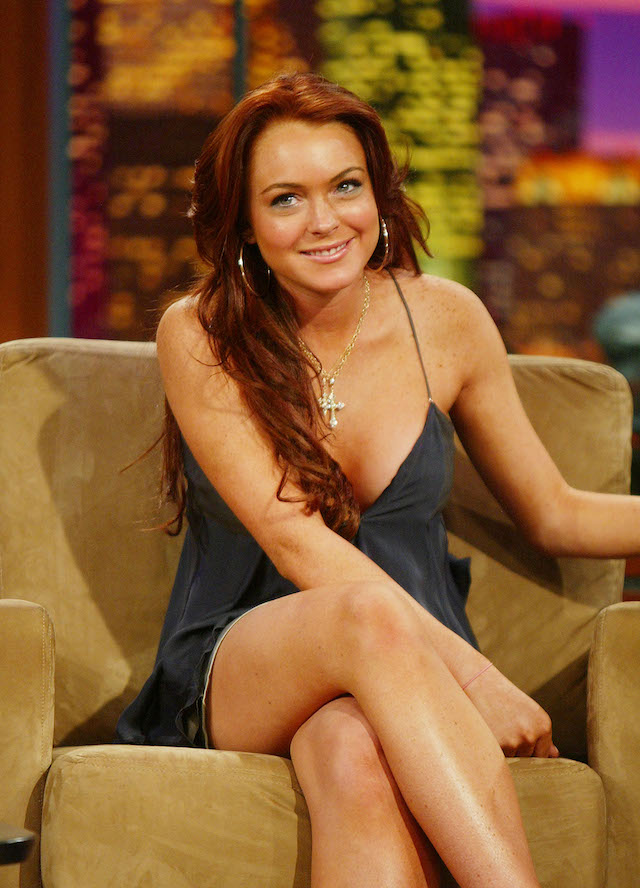 "Actress Lindsay Lohan appears on ""The Tonight Show with Jay Leno"" at the NBC Studios June 8, 2004 in Burbank, California. (Photo by Kevin Winter/Getty Images)"