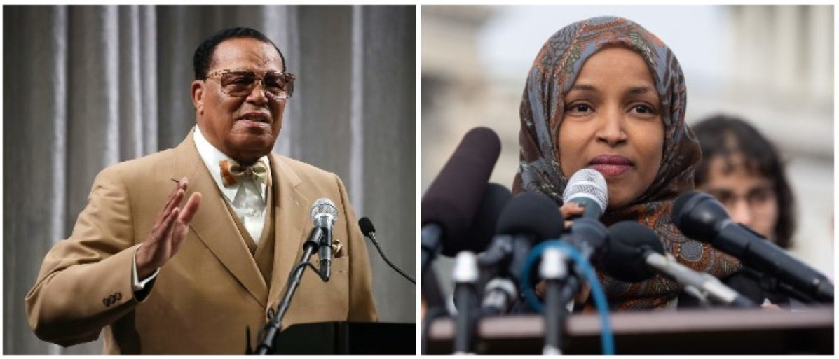 Louis Farrakhan and Ilhan Omar (LEFT: Mark Wilson/Getty Images RIGHT: SAUL LOEB/AFP/Getty Images)