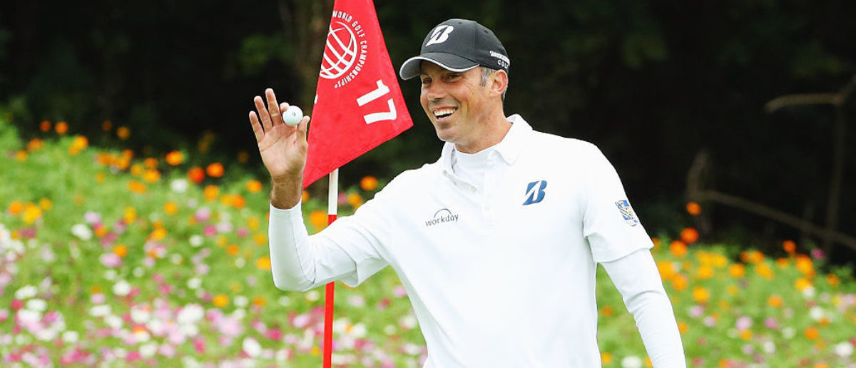 SHANGHAI, CHINA - OCTOBER 29: Matt Kuchar of the Unites States waves to the gallery after a hole-in-one on the 17th hole during the third round of the WGC - HSBC Champions at the Sheshan International Golf Club on October 29, 2016 in Shanghai, China. (Photo by Scott Halleran/Getty Images)