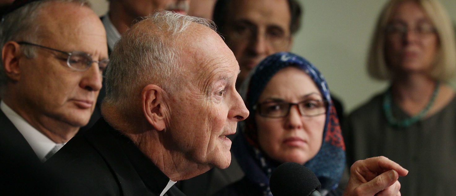 WASHINGTON - SEPTEMBER 07: Cardinal Theodore McCarrick (C), speaks while flanked by Dr. Ingrid Mattson (2nd-R), President, Islamic Society of North America, and other religious leaders during a news conference denouncing the growing intolerance against the Islamic faith on September 7, 2010 in Washington, DC. (Photo by Mark Wilson/Getty Images)