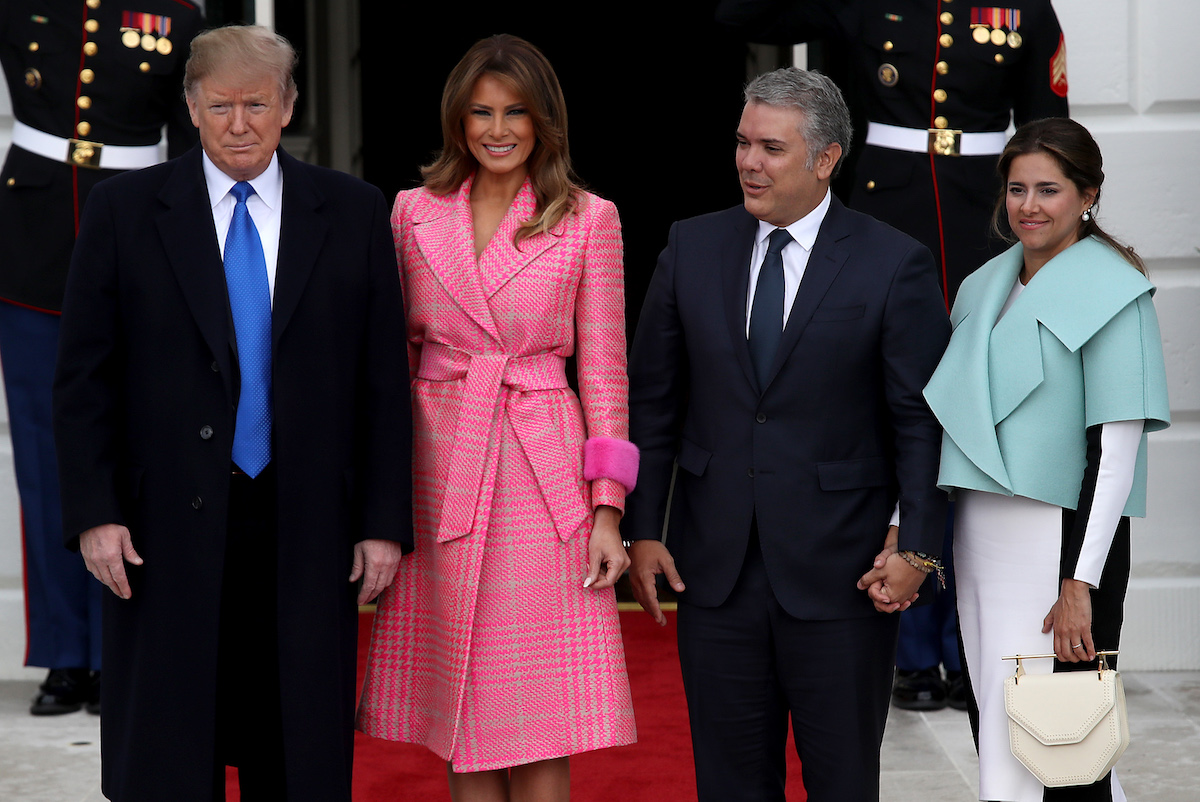 U.S. President Donald Trump and first lady Melania Trump welcome Colombian President Ivan Duque Marquez and first lady Maria Juliana Ruiz Sandoval to the White House February 13, 2019 in Washington, DC. Marquez and Trump are expected to discuss a range of bilateral issues during their meetings. (Photo by Win McNamee/Getty Images)