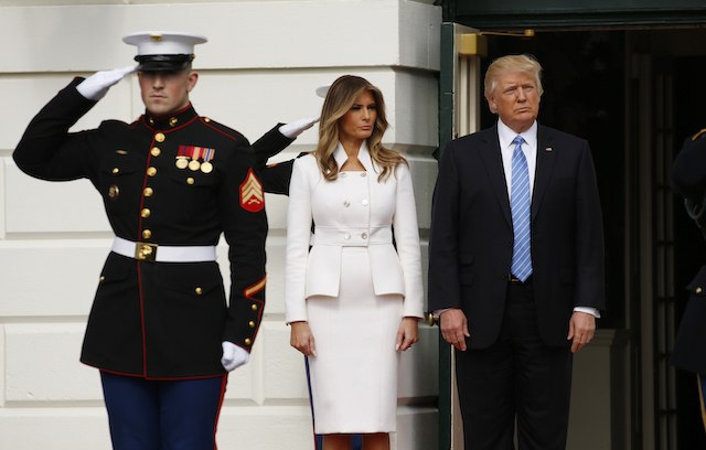 U.S. President Donald Trump and first lady Melania Trump await the arrival of Israeli Prime Minister Benjamin Netanyahu and his wife Sara at the South Portico of the White House in Washington, U.S., February 15, 2017. REUTERS/Kevin Lamarque