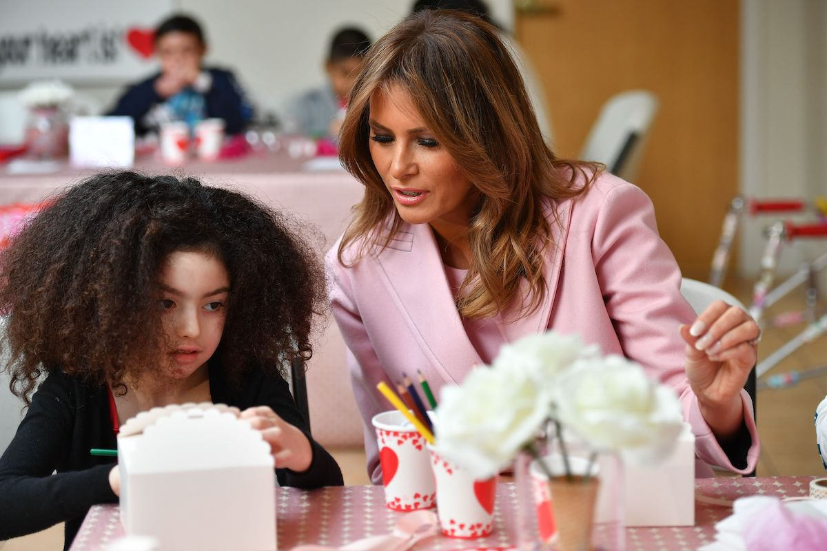 US First Lady Melania Trump visits children to celebrate Valentine's Day at the Children's Inn at the National Institute of Health (NIH) in Bethesda, Maryland, on February 14, 2019. - The Children's Inn at NIH serves as a home for children undergoing medical treatment and their families. (Photo credit:MANDEL NGAN/AFP/Getty Images)