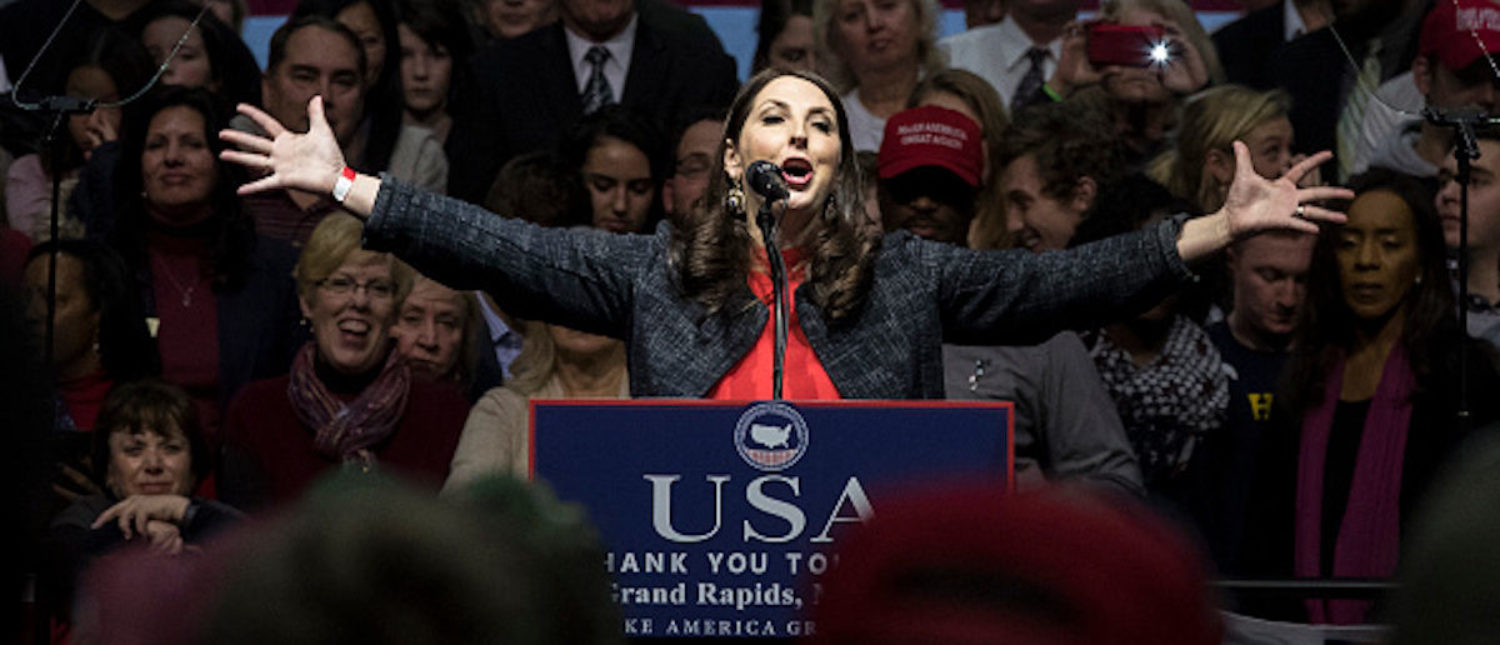 GRAND RAPIDS, MI - DECEMBER 9: Michigan Republican Party Chair Ronna Romney McDaniel speaks before President-elect Donald Trump at the DeltaPlex Arena, December 9, 2016 in Grand Rapids, Michigan. President-elect Donald Trump is continuing his victory tour across the country. (Photo by Drew Angerer/Getty Images)