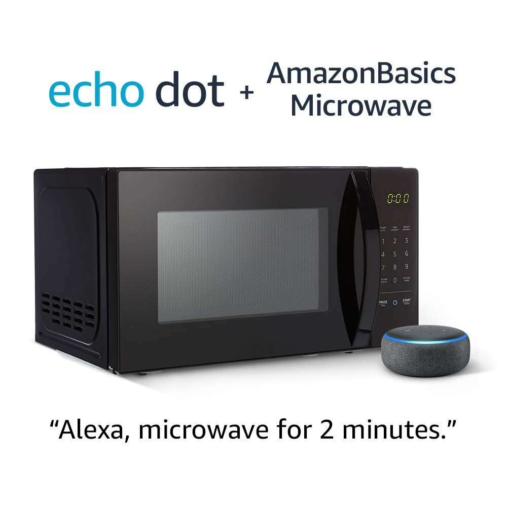 Normally $110, take 40 percent off an Echo Dot and AmazonBasics microwave when you buy them together (Photo via Amazon)