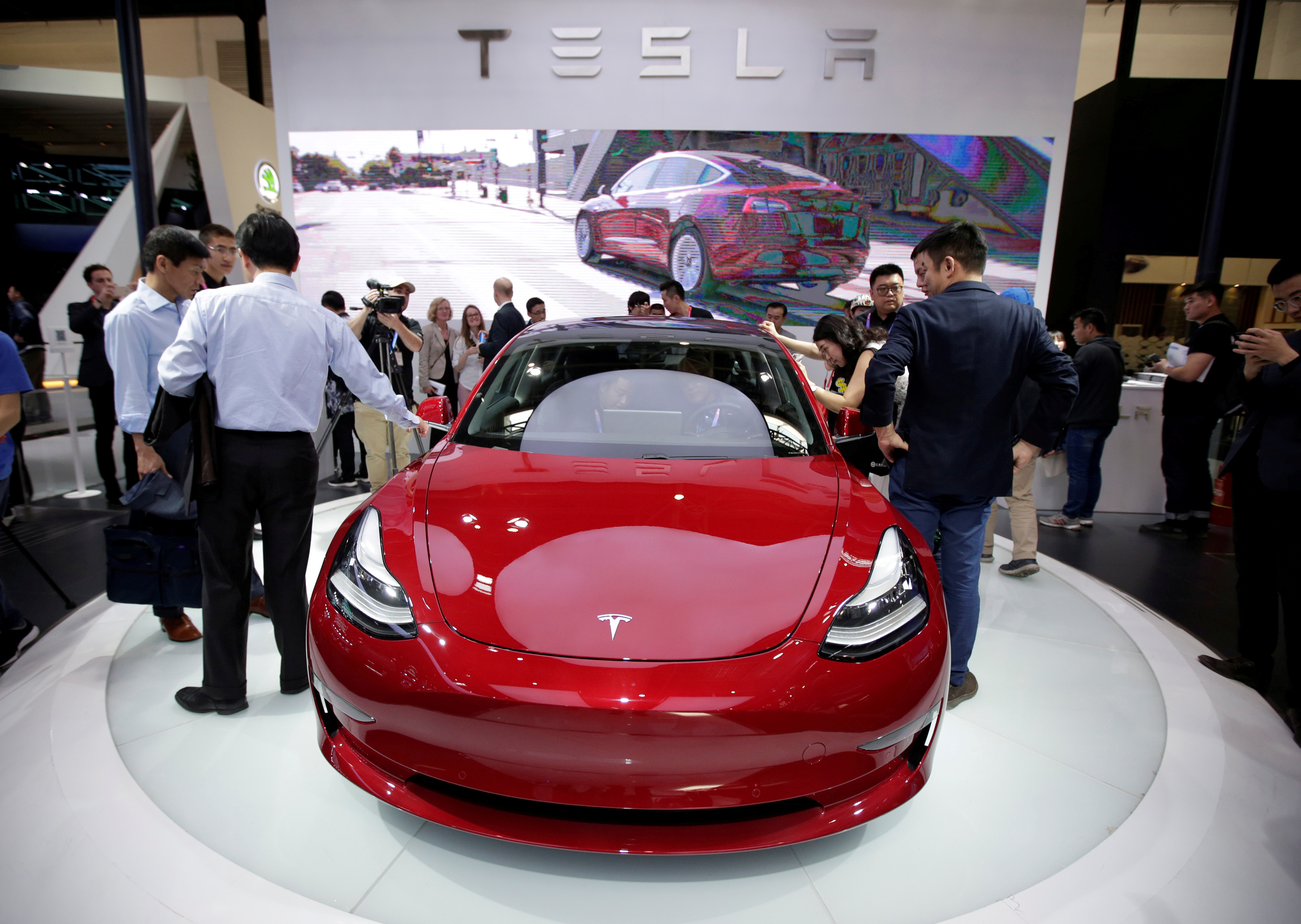 A Tesla Model 3 car is displayed during a media preview at the Auto China 2018 motor show in Beijing, China April 25, 2018. REUTERS/Jason Lee
