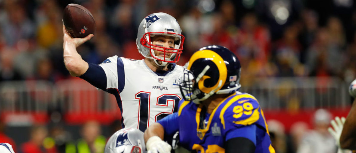 ATLANTA, GA - FEBRUARY 03: Tom Brady #12 of the New England Patriots thorws a pass against the Los Angeles Rams in the second quarter during Super Bowl LIII against the Los Angeles Rams at Mercedes-Benz Stadium on February 3, 2019 in Atlanta, Georgia. (Photo by Kevin C. Cox/Getty Images)