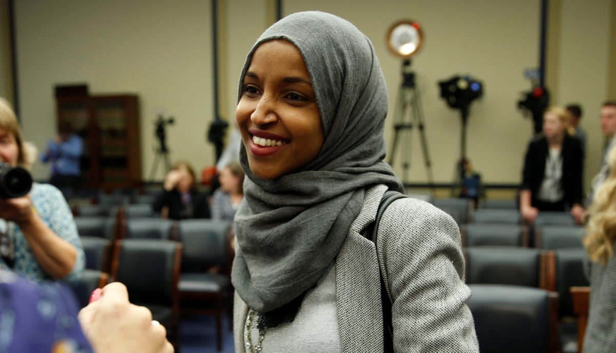 Representative-elect Ilhan Omar (D-MN) speaks to the media after a lottery for office assignments on Capitol Hill in Washington