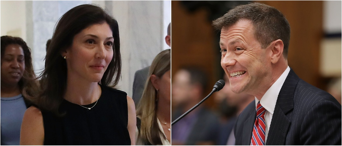 Lisa Page (Mark Wilson/Getty Images); Peter Strzok (Chip Somodevilla/Getty Images)
