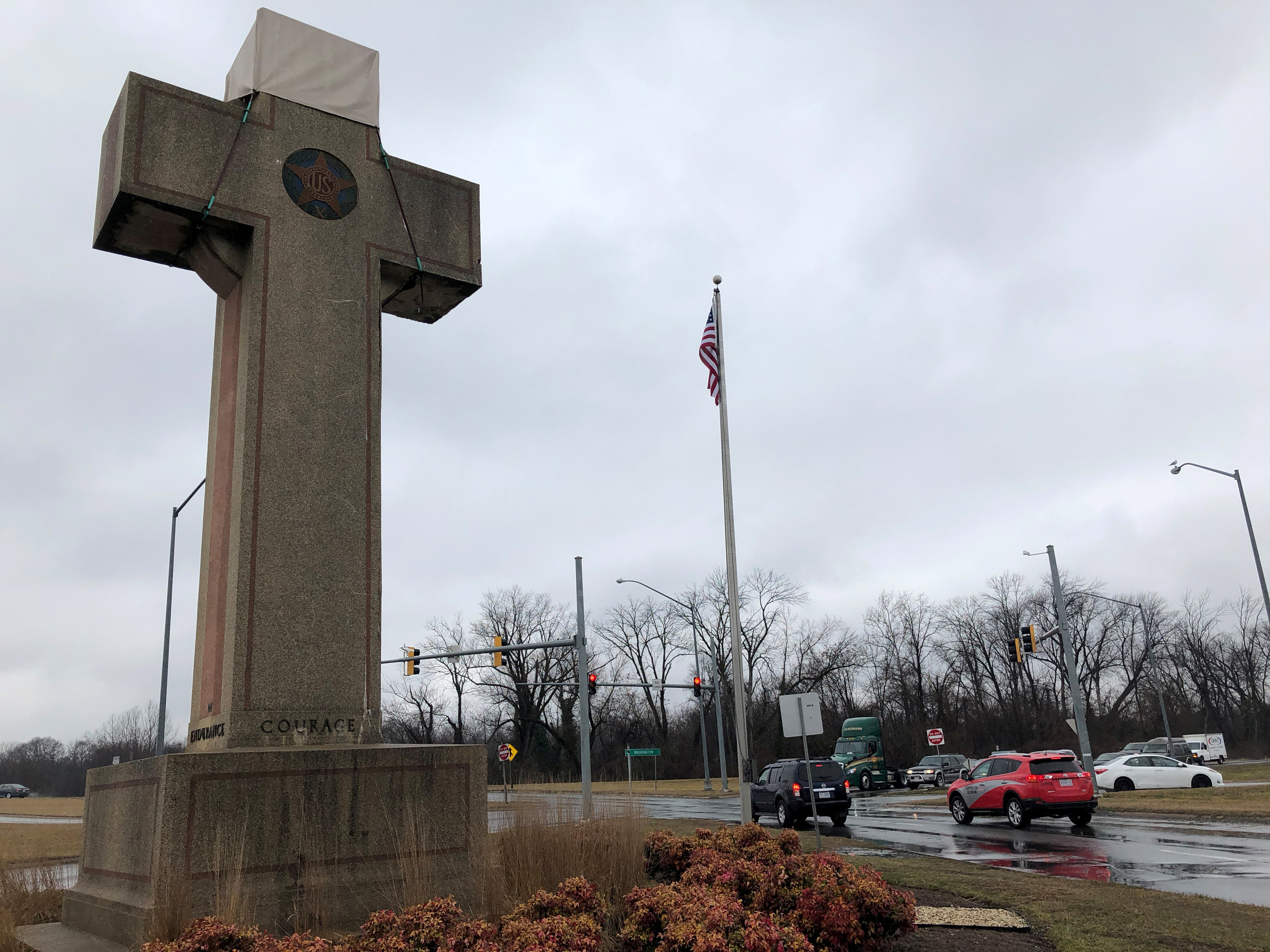 A concrete cross commemorating servicemen killed in World War One, the subject of a religious rights case now before the Supreme Court, is seen in Bladensburg, Maryland. REUTERS/Lawrence Hurley