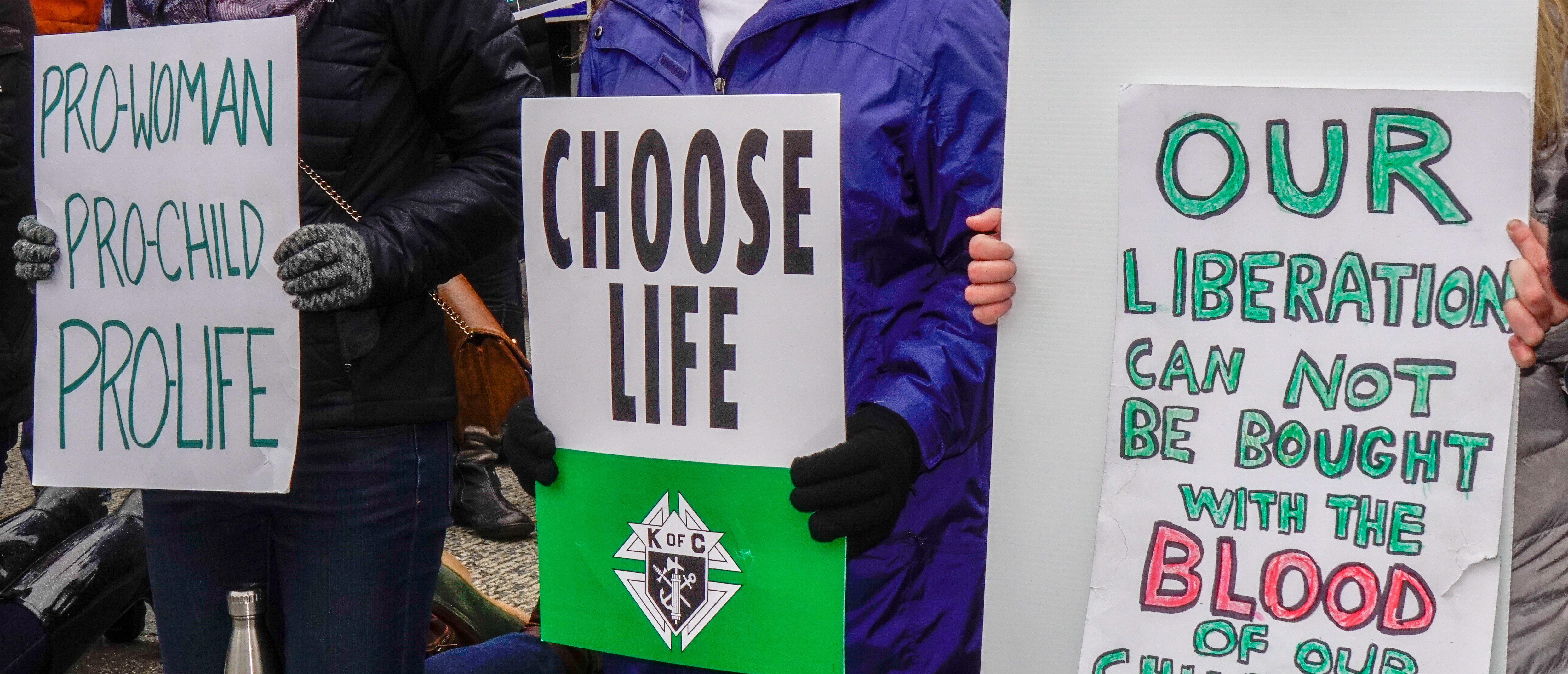 Pro-lifers holding signs (Shutterstock/Xavier Ascanio)