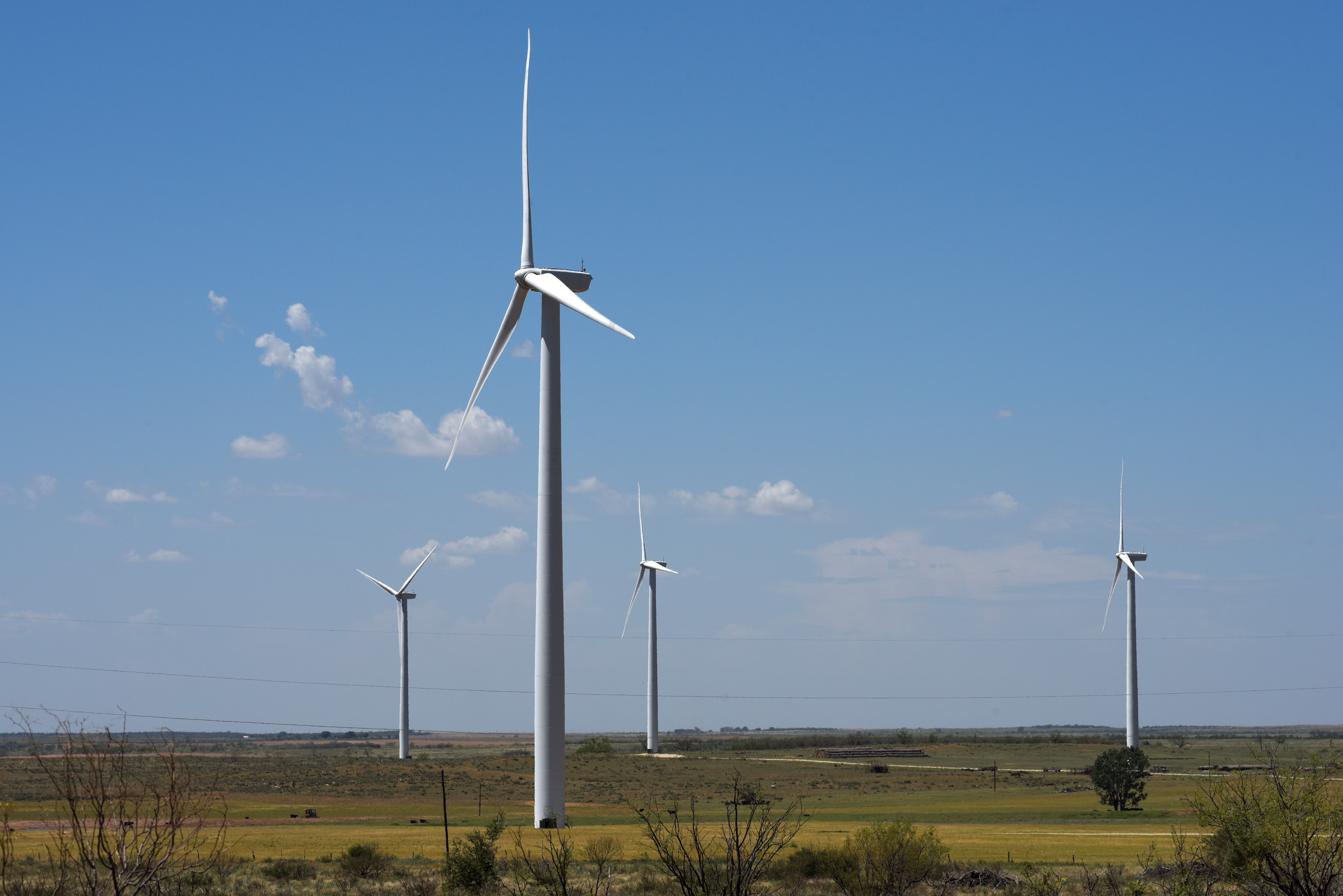 Wind turbines generate power at the Loraine Windpark Project in Loraine