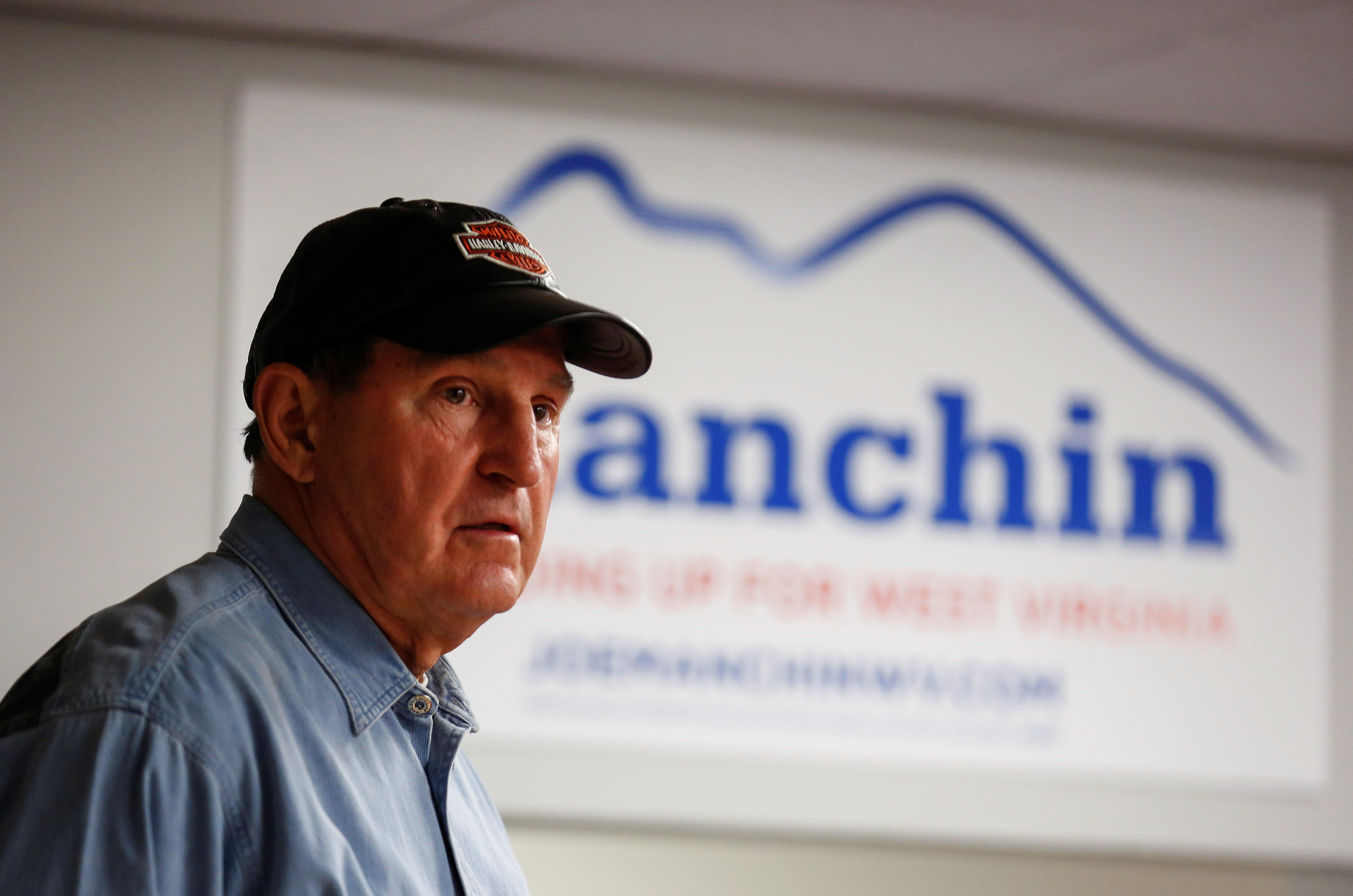 Senator Joe Manchin (D-WV) greets supporters after campaigning for the 2018 midterm elections at his headquarters in Charlestown, West Virginia