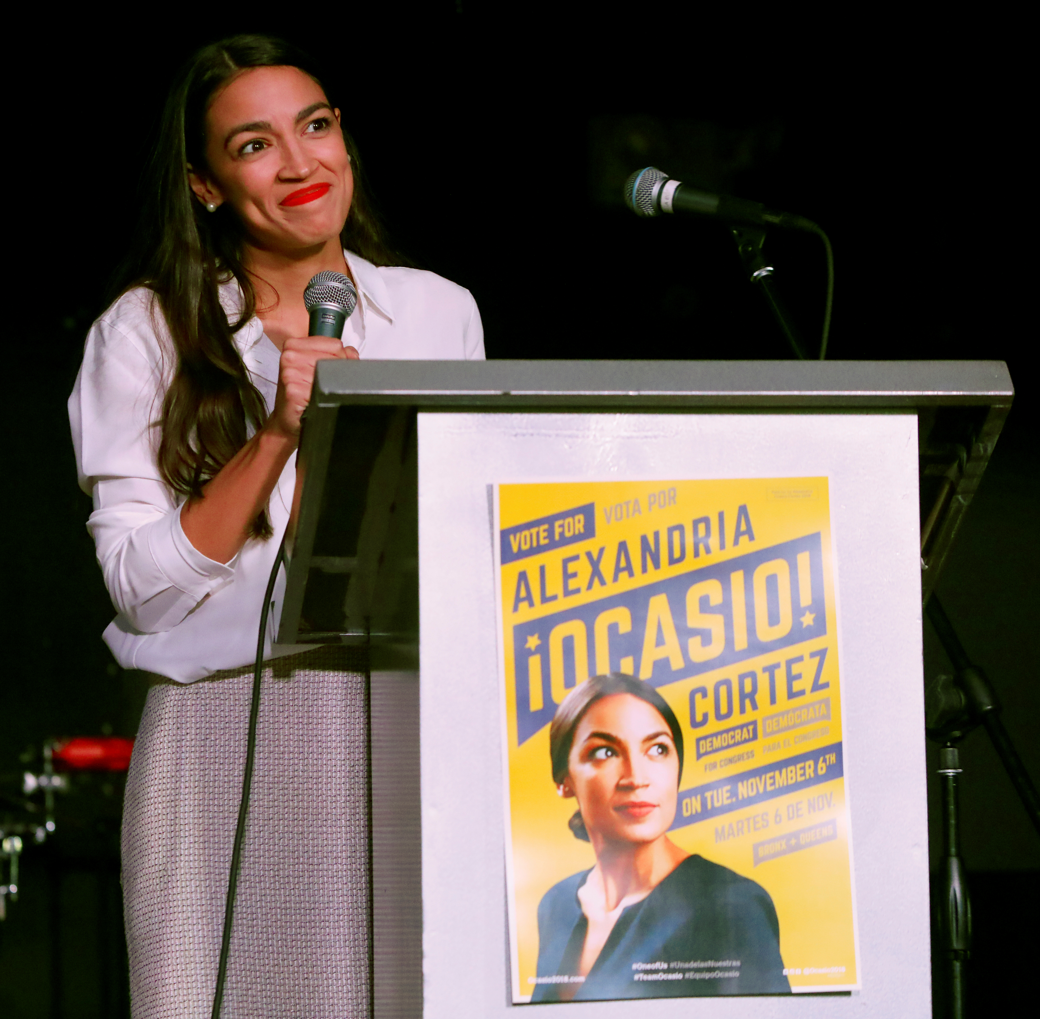 Democratic congressional candidate Alexandria Ocasio-Cortez speaks at her midterm election night party in New York City