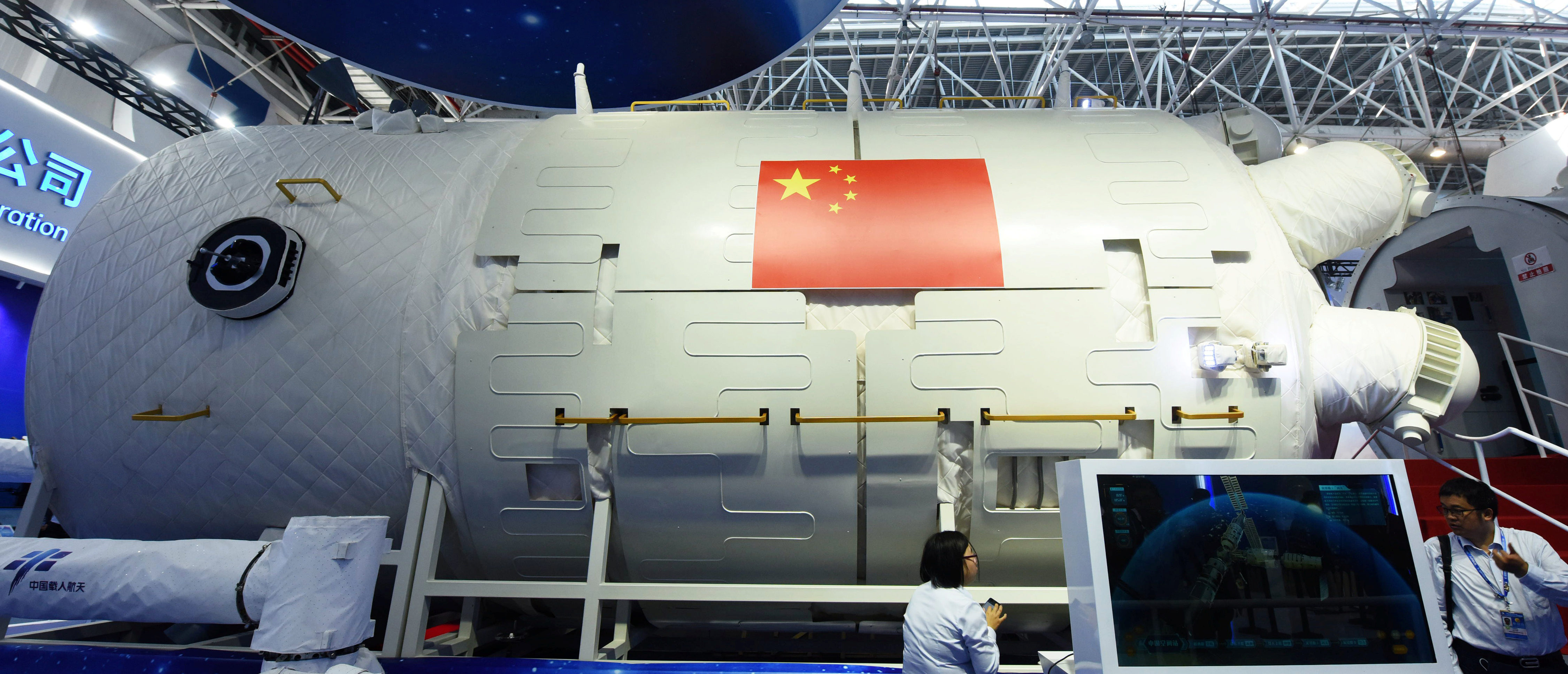 A full-size model of Chinese space station core module Tianhe is seen at the China International Aviation and Aerospace Exhibition, or Zhuhai Airshow, in Zhuhai, Guangdong province, China November 7, 2018. REUTERS/Stringer