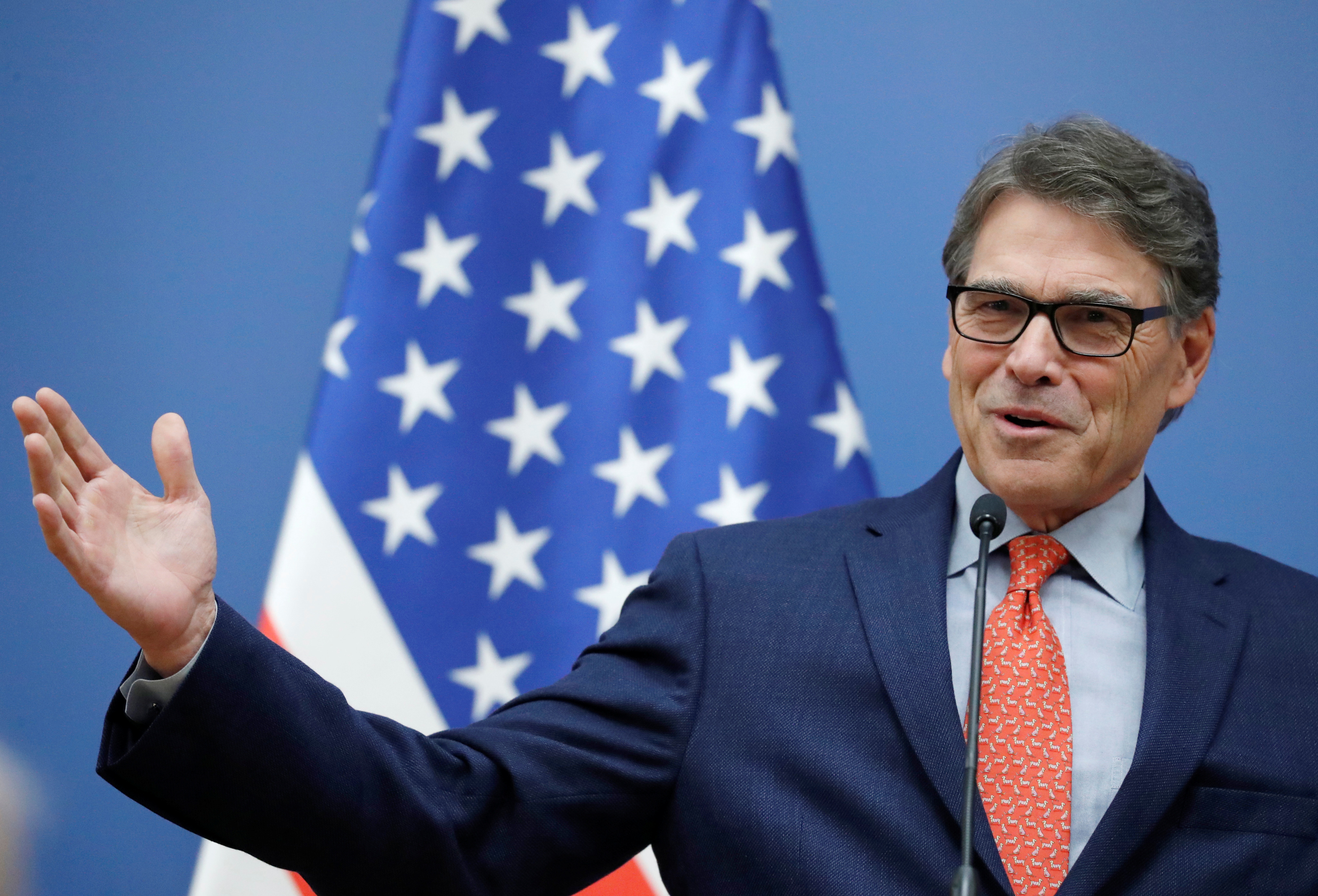 U.S. Energy Secretary Rick Perry attends a joint news conference with Hungarian Foreign Minister Peter Szijjarto in Budapest